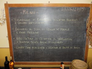 Umbria Wine Tour Raina menu for Tour 1