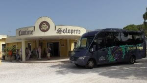 Puglia Wine Tour bus at Cantine Soloperto