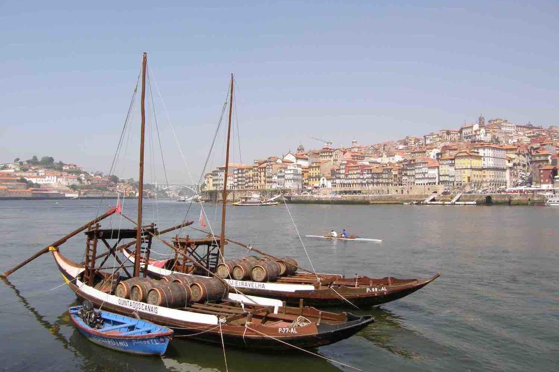 Boats on river Douro in Porto